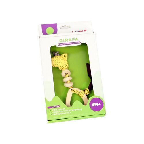 Brinquedos Sensoriais para Bebês em Madeira e Tecido - Girafa