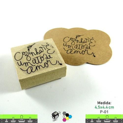 Carimbos Bonitos de Madeira, Cozinhar é um ato de amor - P01