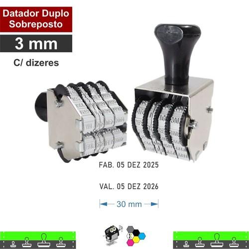 Datador manual Duplo Sobreposto - 3mm Com Dizeres