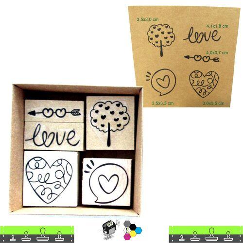 Kit com 5 carimbos com tema amor