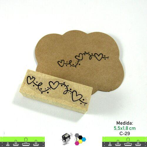 Carimbos Bonitos de Madeira, Coração 5,5x1,8 cm - C29