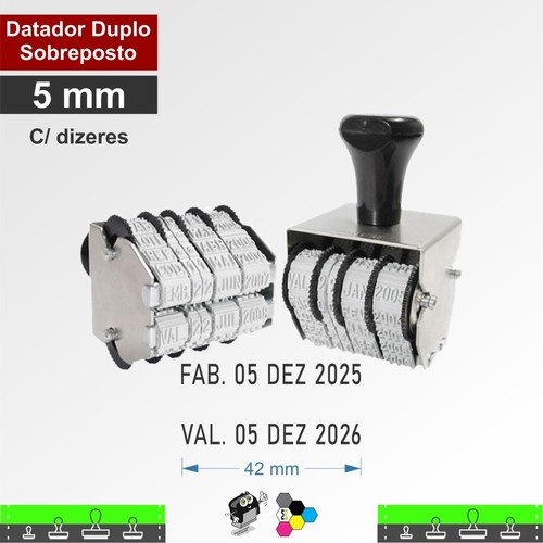 Datador manual Duplo Sobreposto - 5 mm Com Dizeres