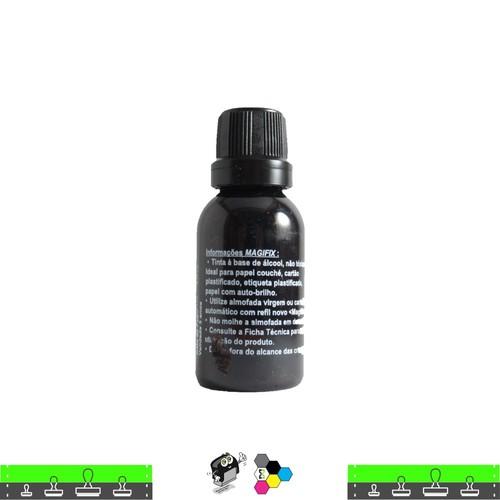 Tinta de Carimbo COUCHE PRETA seca em papel brilho e isopor