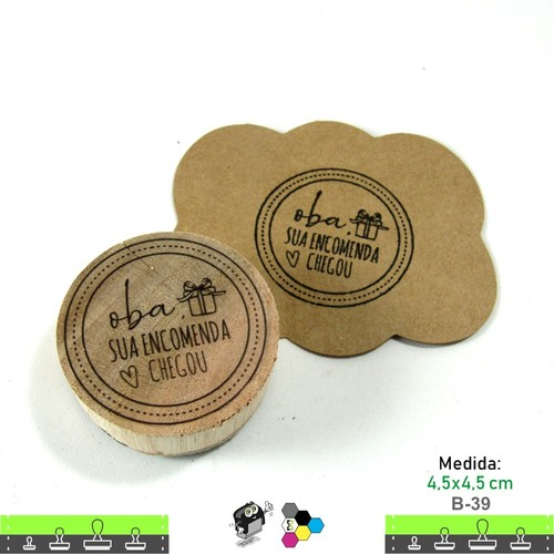 Carimbos Bonitos de Madeira, Oba sua encomenda Chegou - B39