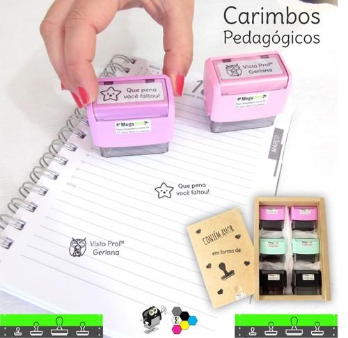 Kit com 06 Carimbos Pedagógicos