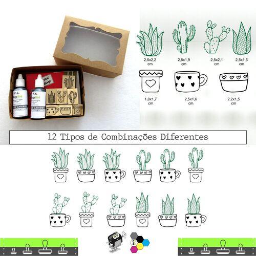 Carimbos Bonitos de Madeira, Kit Cactos e Suculentas