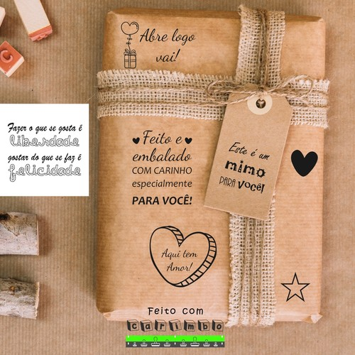 07 Carimbos Feito com amor, aqui tem amor, para você personalizar suas encomendas