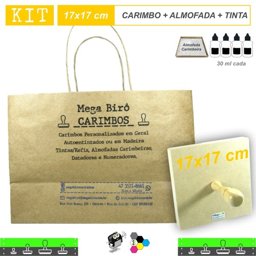 Kit Personalizar Sacolas Nº 6 - Carimbo + Almofada + Tinta