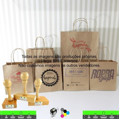 Kit Personalizar Sacolas Nº 5 - Carimbo + Almofada + Tinta