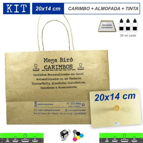Kit Personalizar Sacolas Nº 8 - Carimbo + Almofada + Tinta