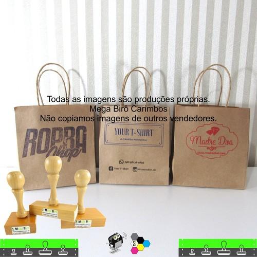 Kit Personalizar Sacolas Nº 7 - Carimbo + Almofada + Tinta