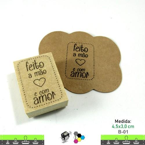 Carimbos Bonitos de Madeira, Feito a mão e com amor - B01