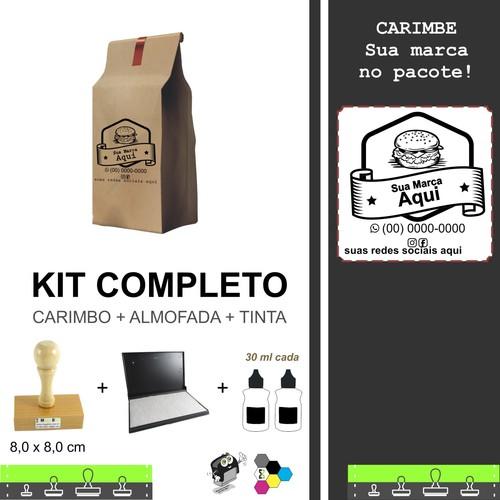 Kit para Pacotes de Lanches Delivery - Carimbo + Almofada + Tinta