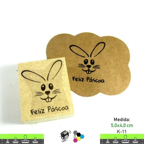 Carimbos Bonitos de Madeira, Coelhinho Feliz Páscoa - K11