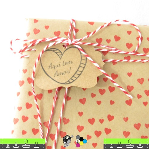Carimbo de Coração para estampar embalagens de papel