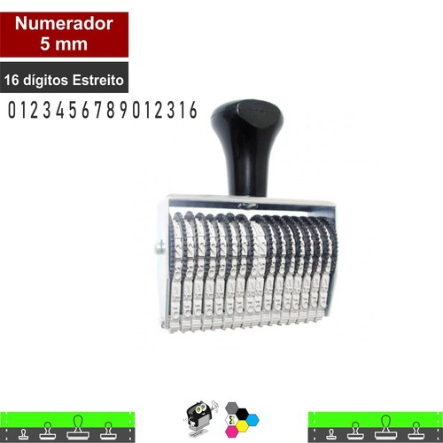 Carimbo Numerador 5mm 16 Fitas