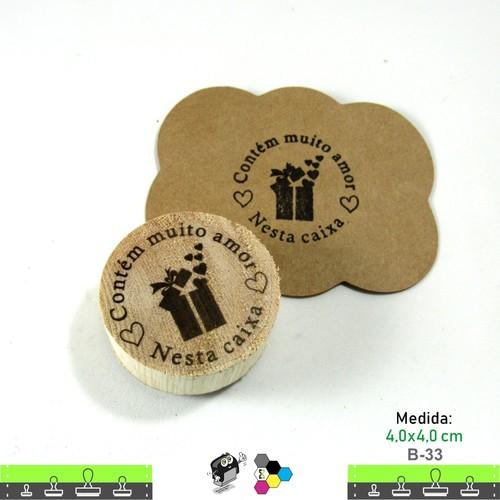 Carimbos Bonitos de Madeira, Contém muito amor nesta caixa - B33
