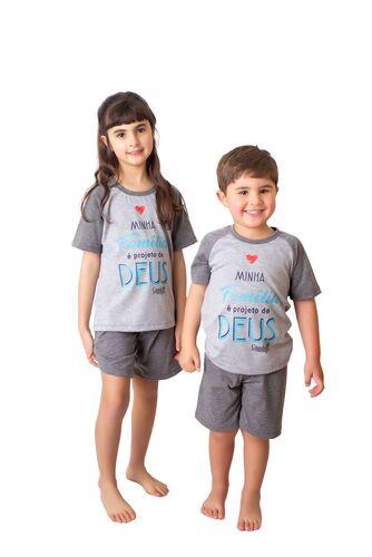 Pijama Curto Infantil Família Projeto de Deus