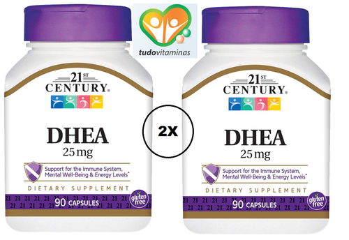 2 x DHEA 25 mg - 21 st Century - Total 180 cápsulas