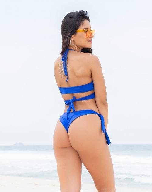 Biquíni Top Transpassado com Calcinha Empina Bumbum Azul