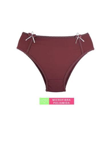 Calcinha Cintura Alta Microfibra Poá Rubro