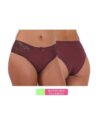 Calcinha Conforto Microfibra com Renda Rubro