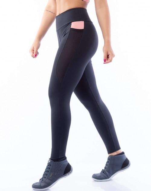 Calça Legging Poliamida com Bolso Preto e Rosa