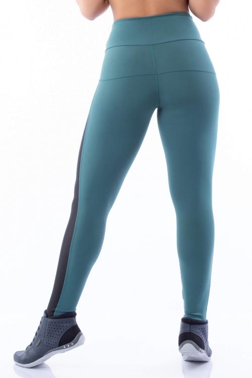 Calça Legging Poliamida Dual Color Verde com Estampado