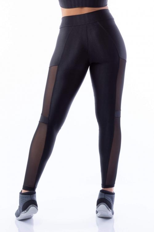 Calça Legging Poliamida Brilho Preta com recortes Tule Sport