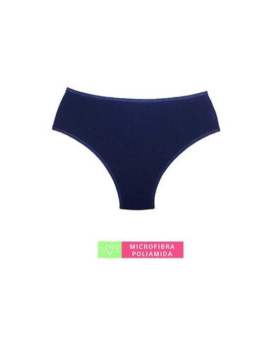 Calcinha Cintura Média Microfibra com Detalhe em Renda Marinho