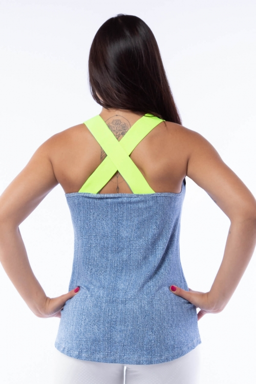Regata Fake Jeans com Elástico Neon