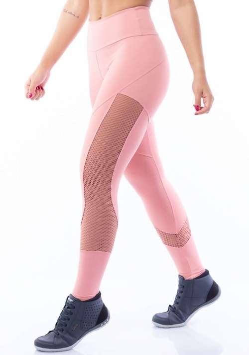Calça Legging Poliamida com Tela Rosê