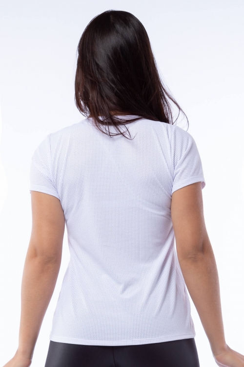 Blusa  Dry Fit Poliamida Branca Relax