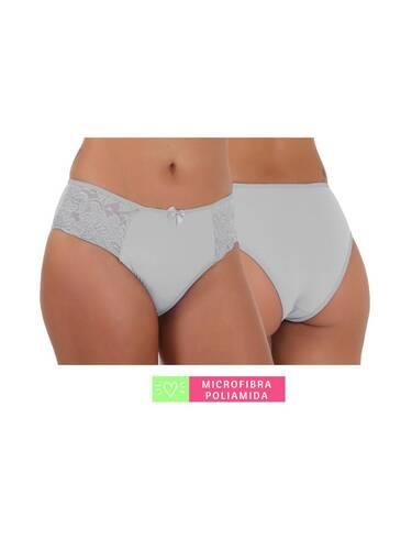 Calcinha Conforto Microfibra com Renda Branca