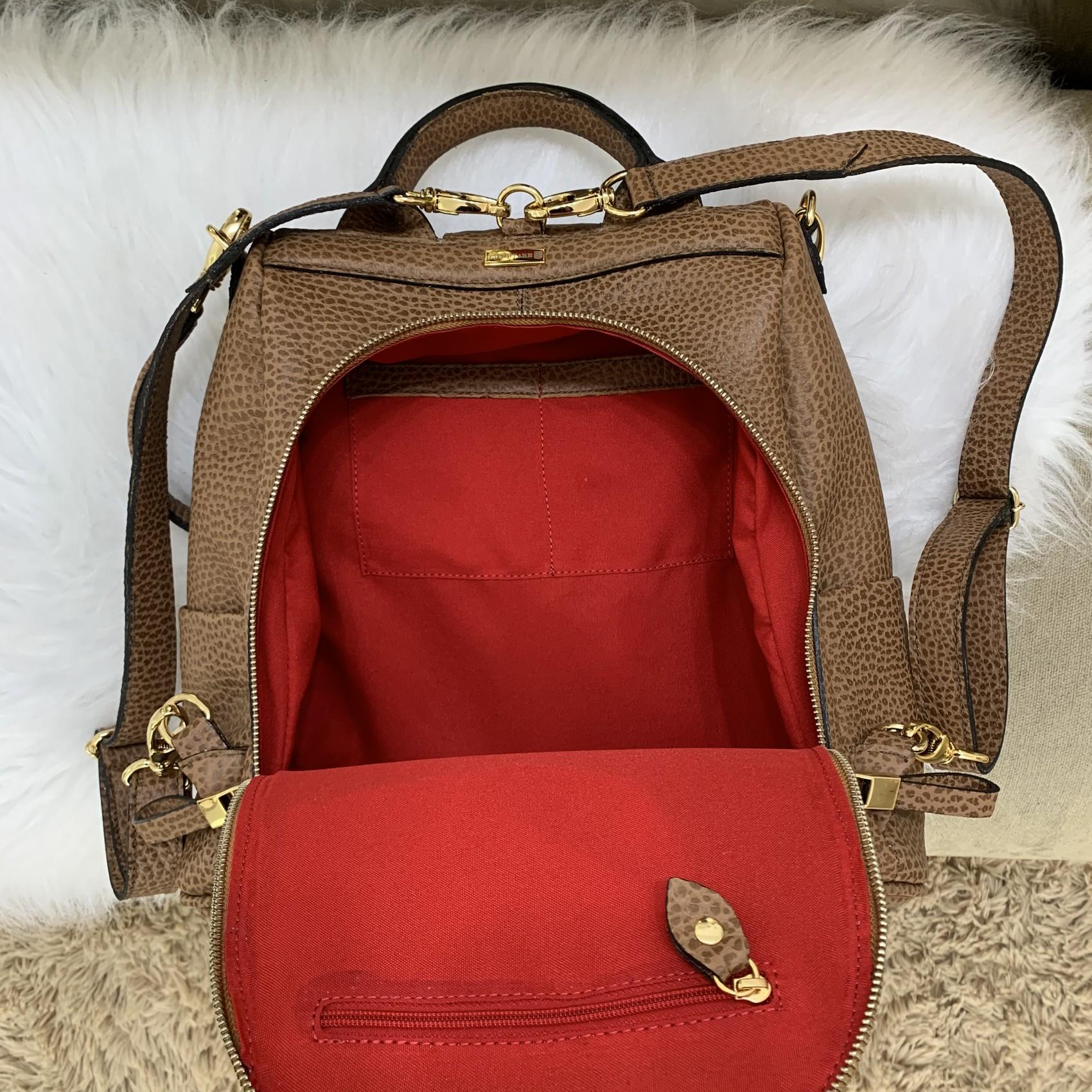 MOCHILA MILÃO Bolsa mochila caramelo em couro legítimo