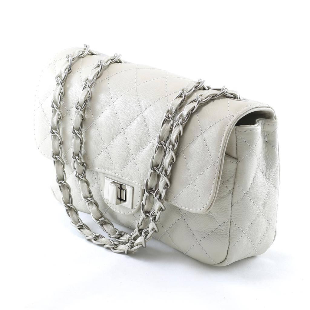 VERSALHES MÉDIA Bolsa de corrente em couro legítimo off-white matelassê tradicional