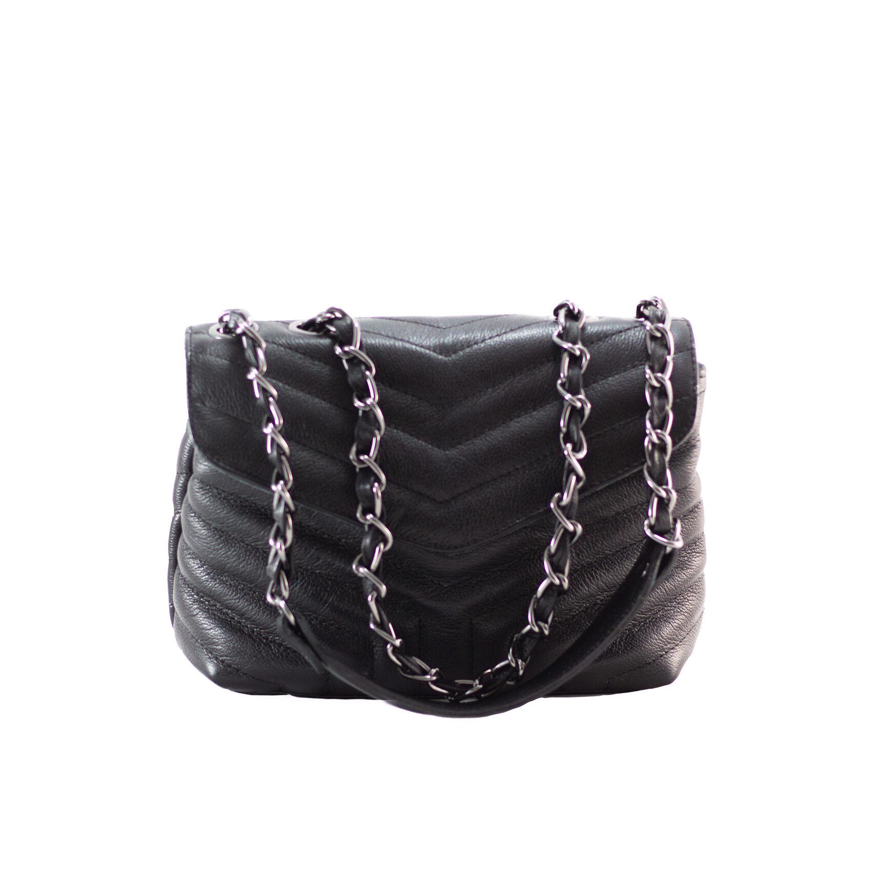 PORTO Bolsa de corrente em couro legítimo preta