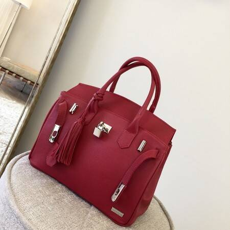 PARIS P Bolsa de mão couro legítimo vermelha com metais prateados
