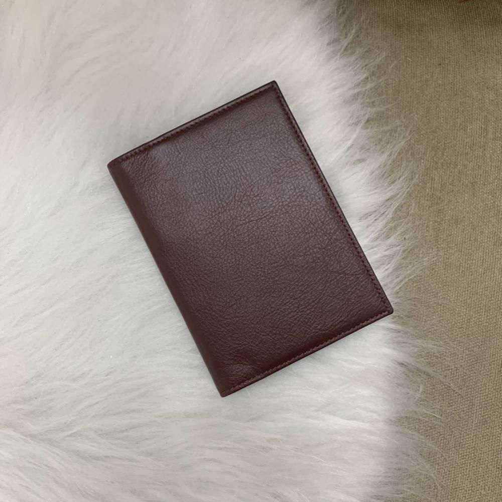 Porta-passaporte duplo couro legítimo vinho