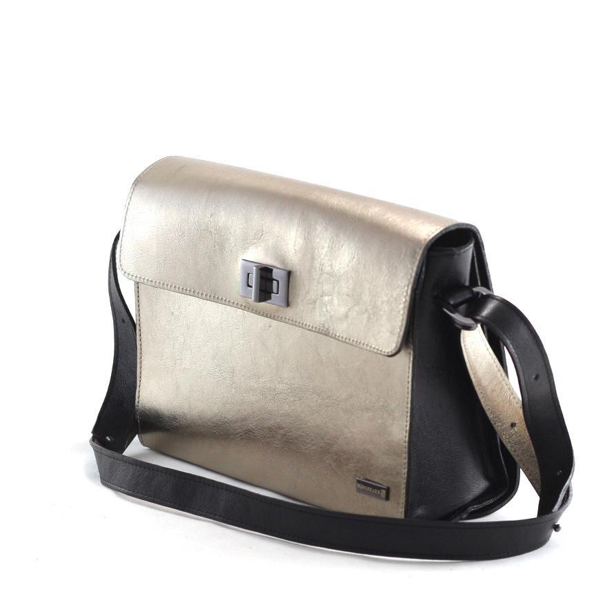 BH GRANDE Bolsa grande dupla face couro legítimo preta com metalizado