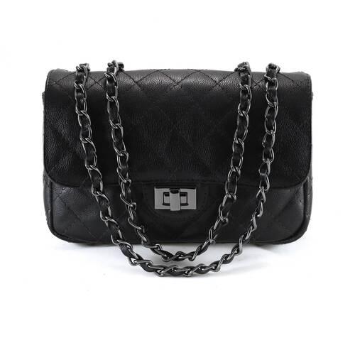 VERSALHES MÉDIA Bolsa de corrente em couro legítimo preta com metais ônix matelassê tradicional