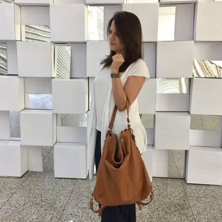 BOLSA-MOCHILA Bolsa mochila couro legítimo caramelo