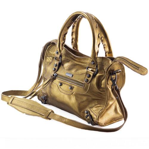 BARCELONA MÉDIA Bolsa média couro legítimo metalizada bronze