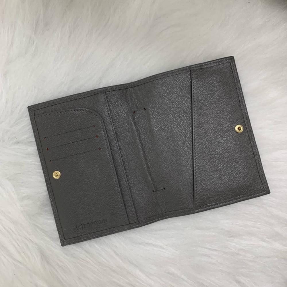 Porta-passaporte duplo couro legítimo cinza