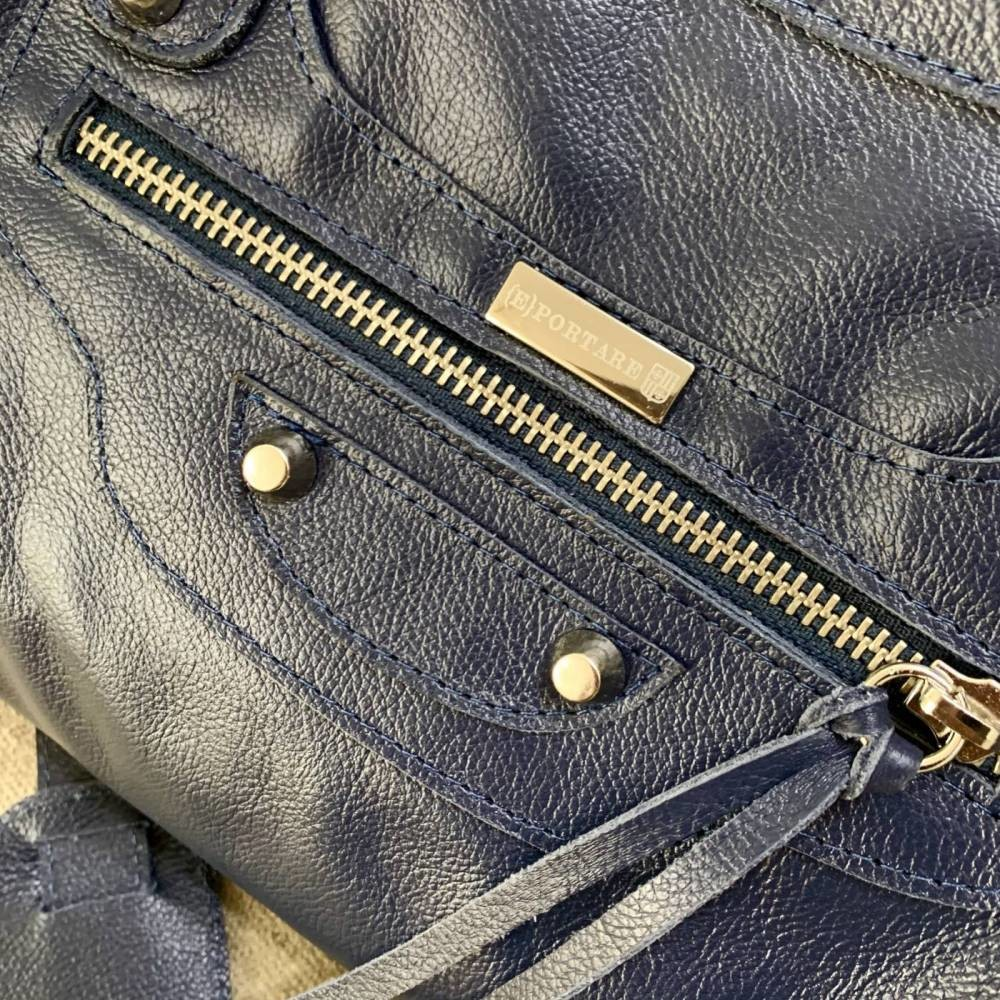BARCELONA TRADICIONAL Bolsa grande couro legítimo azul marinho