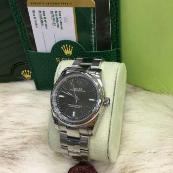 Relógio Rolex Datejust - Prata com Fundo Preto e Ponteiros Azul