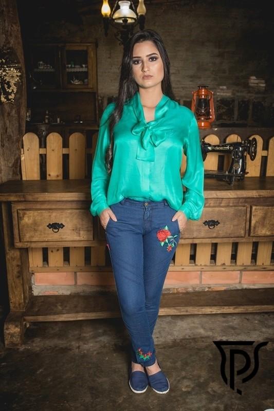 Bombacha Feminina Jeans Flor do Pampa