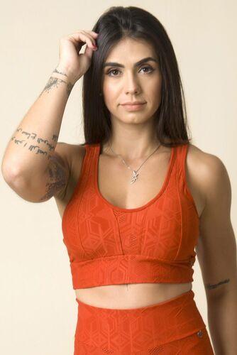 Cropped Fitness Costas Nadador Jacquard Textura Telha