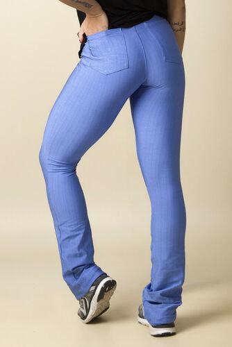 Calça Fitness Flare Casual Cós Transpassado Bolsos Jacquard Textura Azul