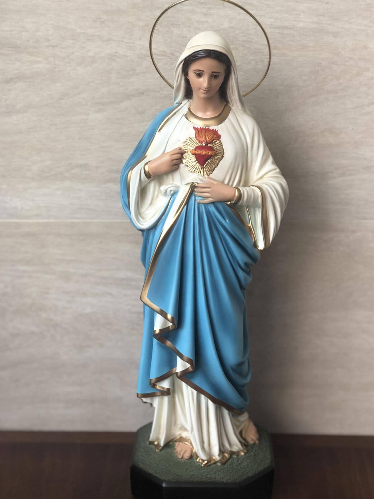 Sagrado Coração Maria - Olho de vidro - 44cm - Resina